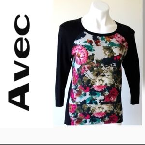 Avec Floral Sweater - Cotton  / Silk - Size XS